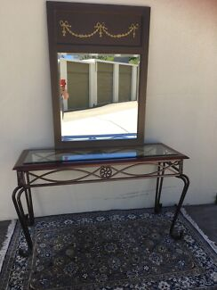 Mirror-French Rococo with bevilled glass, bronze trimmings, vgc