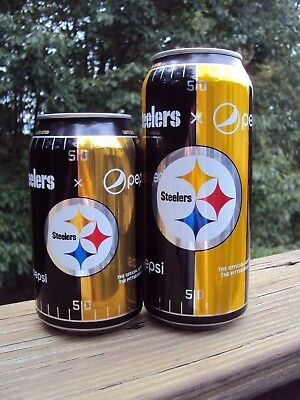 LIMITED EDITION 2017 PITTSBURGH STEELERS / PEPSI COLA. 12 oz &16 oz can set  NFL