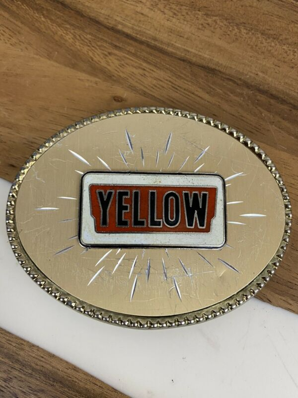 Metal Belt Buckle Yellow Trucking Freight Oval Vintage Trucker Company