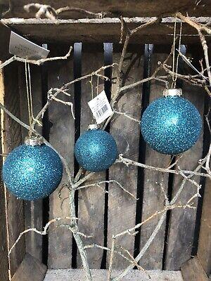 Gisela Graham Christmas turquoise peacock glitter glass bauble 7cm set of 3 ()