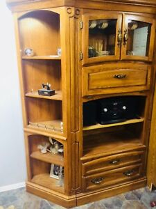 Must Sell!!!   Oak 2 Piece Wall Unit display cabinet shelves