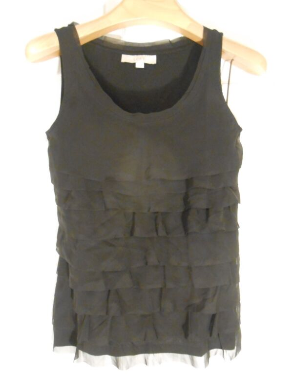 Ann Taylor LOFT Black chiffon ruffle sleeveless knit top new! XS