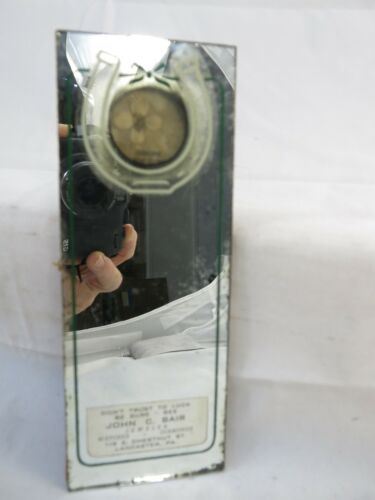 Vintage 4 Leaf Clover Advertising Mirror Lancaster PA Jeweler Four Leaf Clover