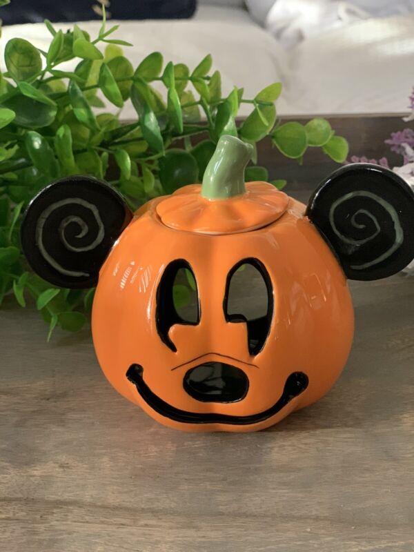 "Mickey Mouse 2021 Halloween Pumpkin Ceramic Tea Light Candle Holder 4"""