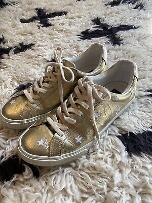 Madewell x Veja Esplar Low Sneakers Star-Embroidered Gold Leather Size 9 9.5 40
