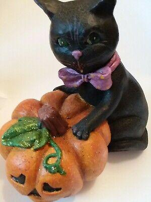"Retired Bethany Lowe Halloween 10"" Black Cat Jack O Lantern Decoration"