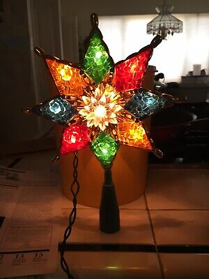 Vintage Christmas Lighted Star Tree Topper - Brilliant Colors Beautiful Piece