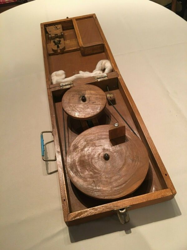 Vintage Charkha Hand Spinning Wheel in Hinged Wooden Case with Wooden Crank