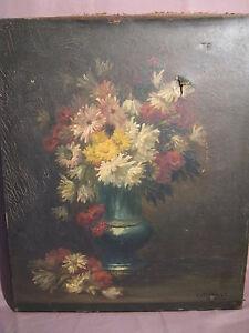 Tableau huile sur toile sign coppenolle bouquet de fleurs for Delta 0 tableau de signe