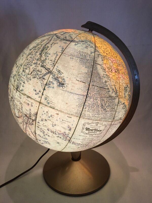 Vintage 1970s  Replogle World Vision Illuminated Globe Mid Century 12 In.