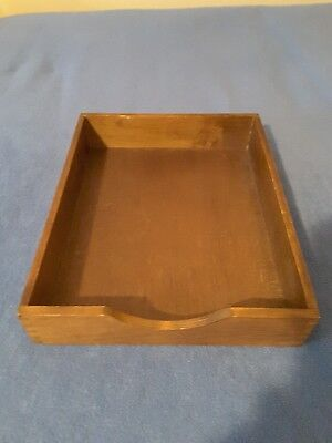 Vtg Hedberg Wooden Desk Tray Office Letter File Organizer Wood Dovetailed Usa