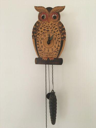 ALBERT SCHWAB OWL EYE MOTION WOOD CLOCK WESTERN GERMANY W/CHAIN WEIGHT PENDULUM