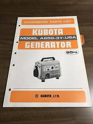 Genuine Kubota A6503y Generator Parts Book Catalog Manual
