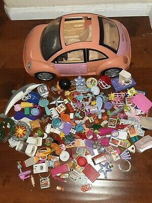 Barbie Mattel pink VW car + doll house accessories + food