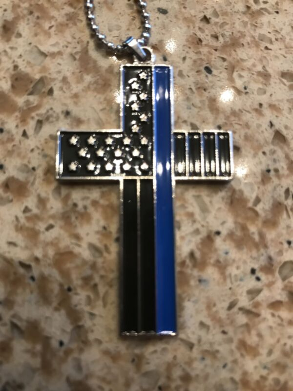 Thin Blue Line Cross Pendant Necklace Police Tribute US SELLER!