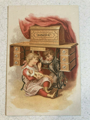 Domestic Sewing Machine Robert B Whitsett Logansport, Ind Advertising Trade Card