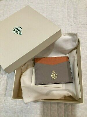NWT $250 Mark Cross Genuine Leather Card Case Small Two TonePeach Tan Wallet