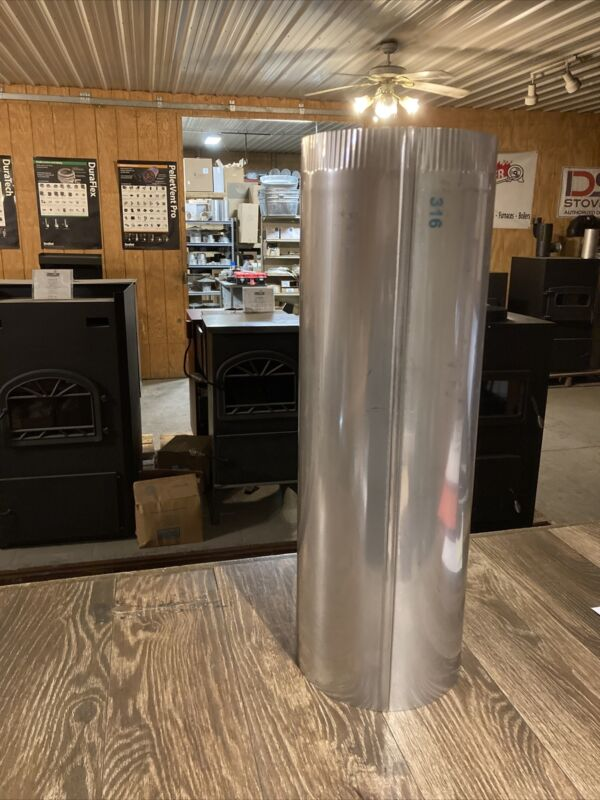 """8""""x24"""" 24ga 316 Stainless Steel Stove Pipe"""