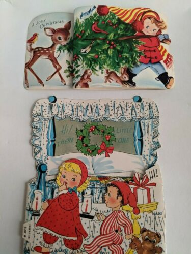 Vintage Young Friends & Christmas Kiddie Card Lot of 2-Fold Out & 3D Card-Unused