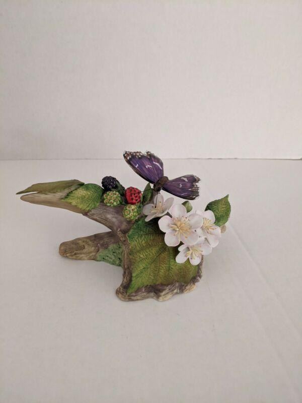 1983 Franklin Mint Purple Emperor Butterfly Porcelain, Ian D. Loe * MINT *