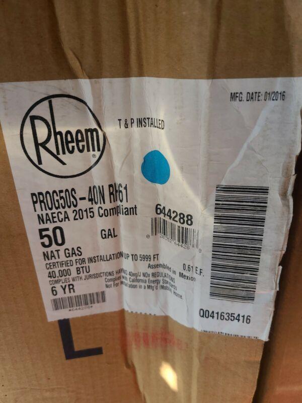 Rheem Pro classic Plus 50 Gal 40,000 BTU Tall Nat Gas Water Heater PRO+G50-40N