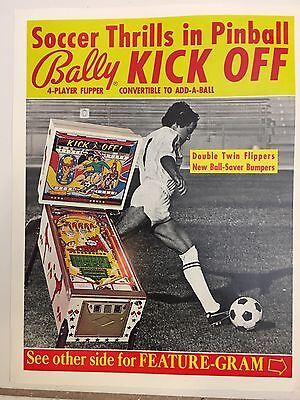 """""""  KICK OFF"""" BY  BALLY PROMO PIN  BROCHURE-RARE-""""MINT 1975 IN PLASTIC COVER"""