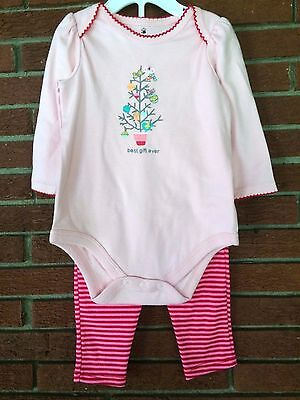 First Christmas Outfit Pink Winter Warm Soft Tree