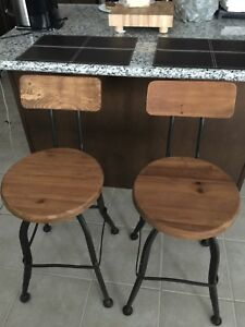Rustic Style Wooden Counter Bar Stools