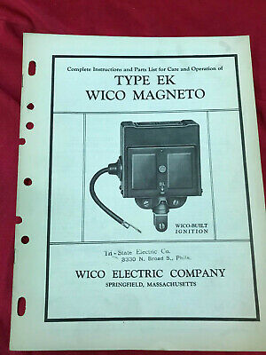 Wico Mag Magneto Type Ek Instuctions And Parts List
