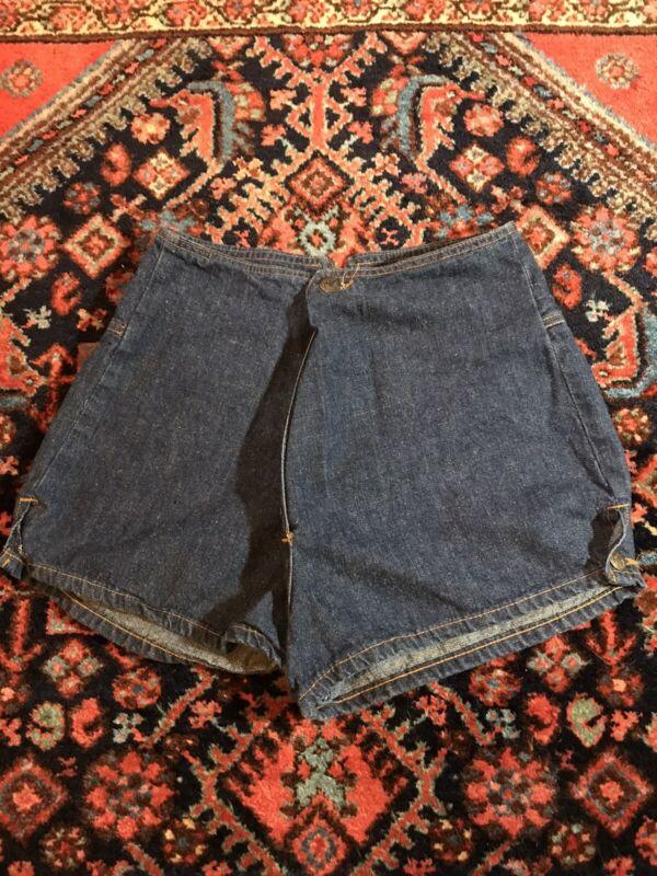 Vintage 70s Landlubber High Waisted Dark Denim Shorts Button Front
