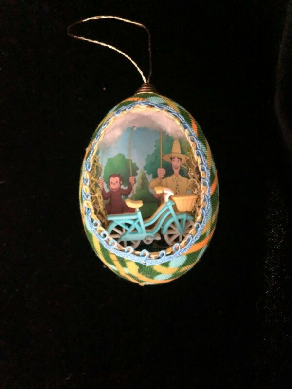 Curious George Ornament Real Egg Shell Unique Whimsical bicycle