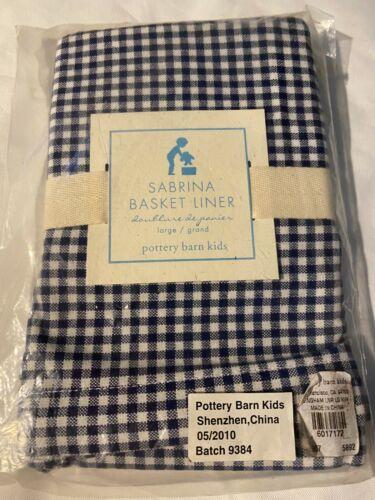 Pottery Barn Kids PBK Blue Gingham Sabrina Basket Liner Size Large NWT