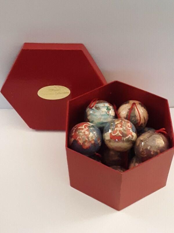 Set 12 Christmas Ball Ornaments Paper Mache JC Penney Collecitble
