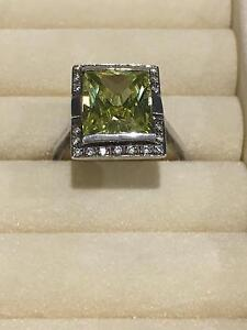 925 Stirling Silver, Green stone and Cubic Zirconia ring Seaham Port Stephens Area Preview