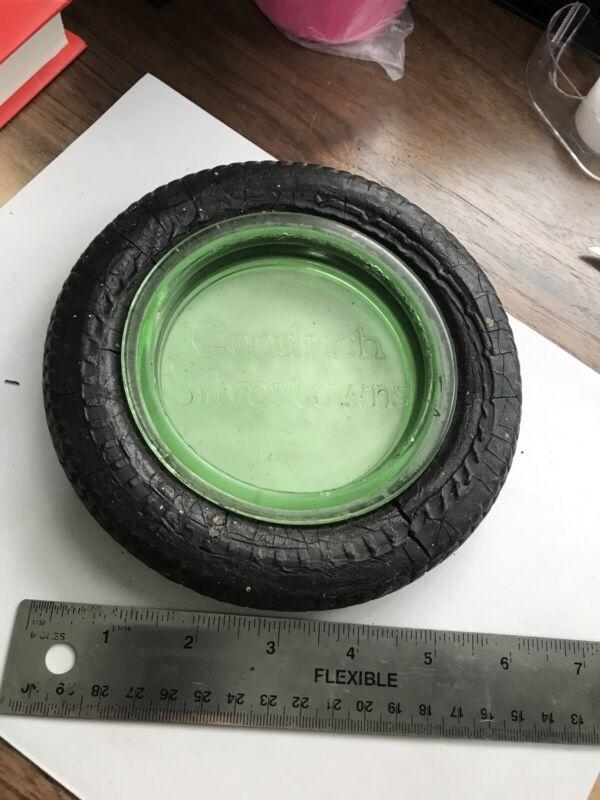 Rare Goodrich Silvertown Tires Ashtray Advertisement w/ Green Glass Insert Good