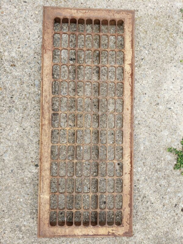 ANTIQUE Long Heat Return Air Grate Wall Register- Grill 11 x 28