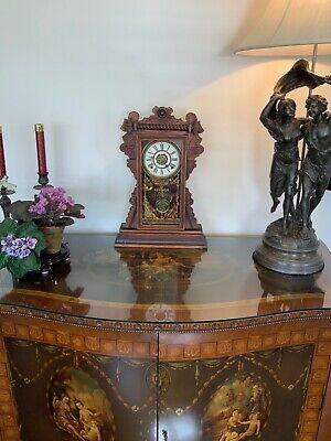 Antique Waterbury glass cabinet mantel clock...