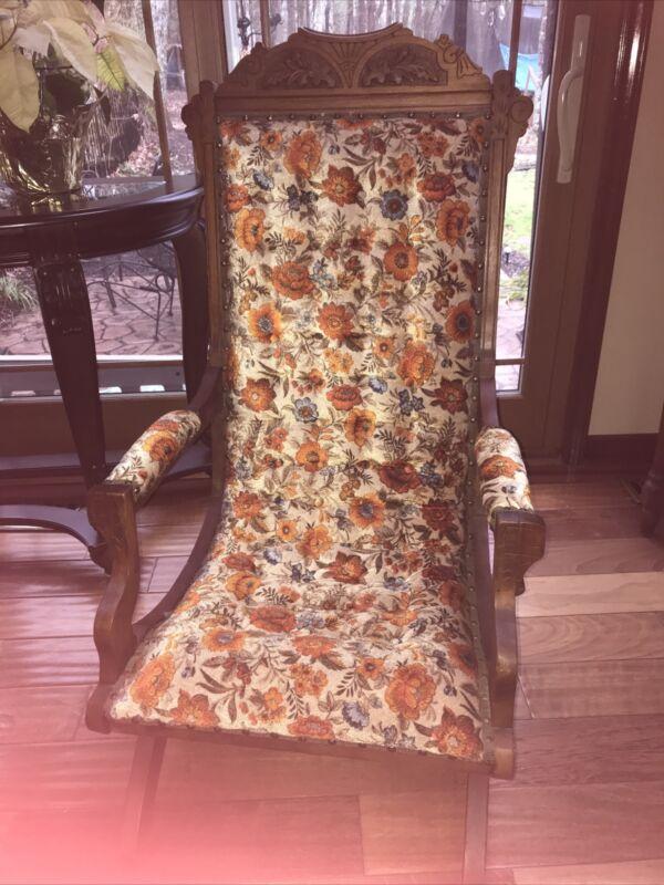 Eastlake Platform Rocker Tuft Floral Upholstery