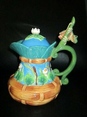 Large Rare House of Hatten Teapot Frog Lily Pad by Peggy Fairfax Herrick Ceramic