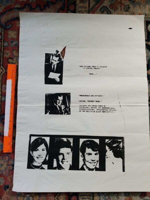 Protest POSTER BOYCOTT Rare Vintage PRINT Hippie PEACE LOVE 1960s 1970s COLLEGE