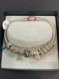 Silver Pandora bracelet with heart Lock with 12 charms