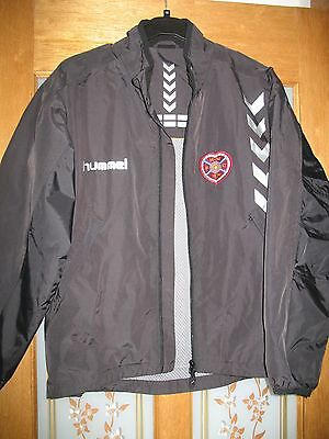 Hearts black wind and rain proof jacket with logo, zip, side pockets in size s