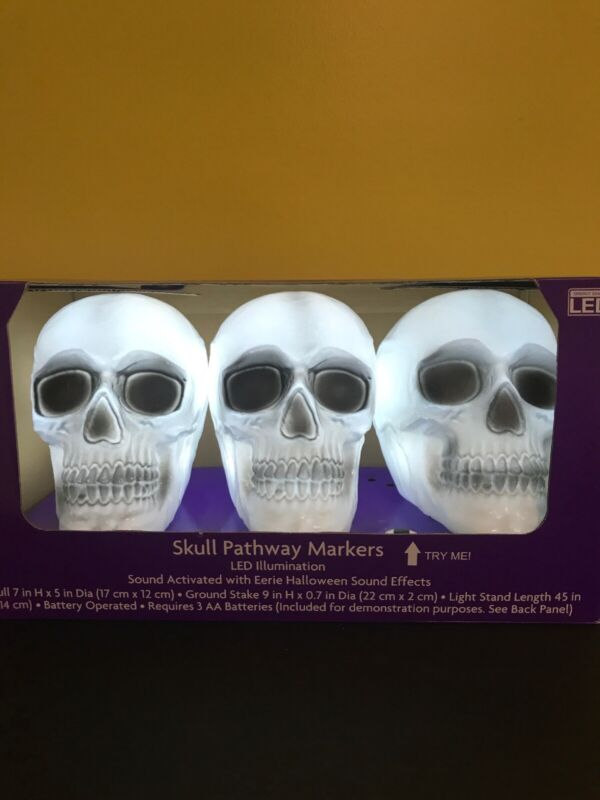 Halloween Skull Pathway Markers LED Lights With Sound Effects