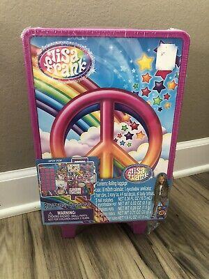 Lisa Frank Hard Plastic Rolling Luggage Peace Sign SEALED COMPLETED SET