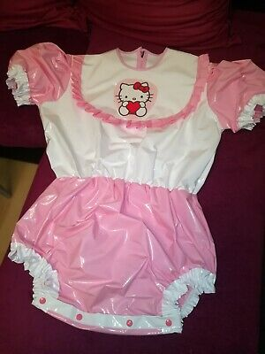 ADULT BABY BODY SPREIZBODY WINDELBODY DIAPER SPREIZHOSE PVC LACK HALLO KITTY XL