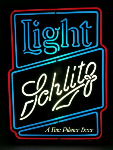 "Rare Schlitz 1983 Vintage Lighted Bar Sign 20"" Neon-Like Light Beer Ad Display"
