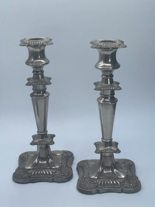 Old English Reproduction Viking Silver Plate Pair Of Candle Stick Holders