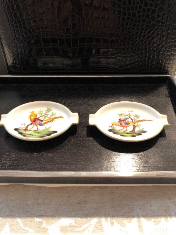Herend Pheasant Set Of 2 Ashtrays 1785 Hand-painted Porcelain