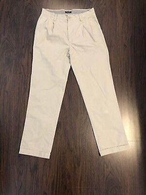 Nautica Rigger Khaki Pants Mens Size 32x32 Tan Beige Pleated Cuffed