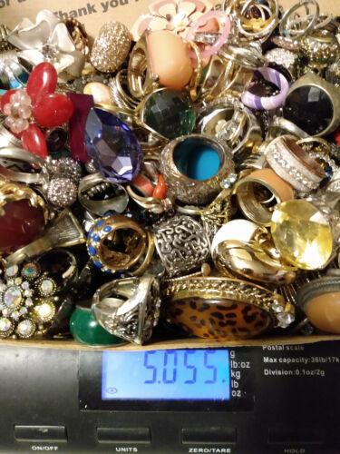 Huge Ring Lot Wear/Repair/Craft many w/Rhinestones 5 lbs LQQK